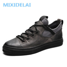 Load image into Gallery viewer, MIXIDELAI Genuine Leather First Grade Cow Leather Sneakers Men's Casual Shoes Fashion Male Lace up Flats Breathable Black Shoes