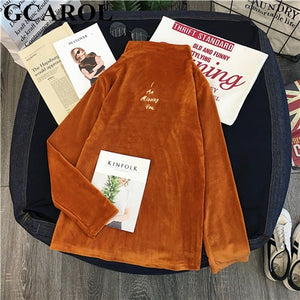 GCAROL New Fall Winter Stand Collar Corduroy Undershirt Full Sleeve Thick Corduroy Sweater Stretch Slim Fit Pullover