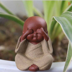 Handmade Buddha Tea Pet Purple Sand Buddha Monk Tea Tray Decor Accessories Kung Fu Tea Set