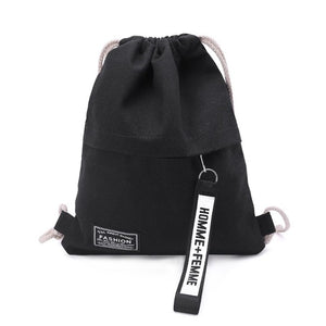 School Gym Drawstring Bag Cinch Sack Canvas Storage Pack Rucksack Backpack Pouch