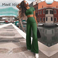 Load image into Gallery viewer, 2 Two Piece Set Women Ribbed O Neck Crop Top and Long Pants Set Sexy Autumn Short Sleeve Tracksuit Women Conjunto Feminino 2019