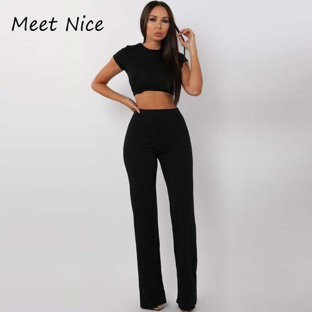 2 Two Piece Set Women Ribbed O Neck Crop Top and Long Pants Set Sexy Autumn Short Sleeve Tracksuit Women Conjunto Feminino 2019