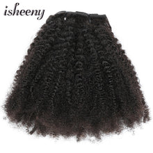 "Load image into Gallery viewer, Isheeny 8pcs/set Afro Kinky Curly Wave Human Hair Clip In Hair Extensions 12""-20"" Natural Color 120g Middle Thick Remy Hair"
