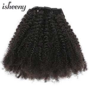 "Isheeny 8pcs/set Afro Kinky Curly Wave Human Hair Clip In Hair Extensions 12""-20"" Natural Color 120g Middle Thick Remy Hair"