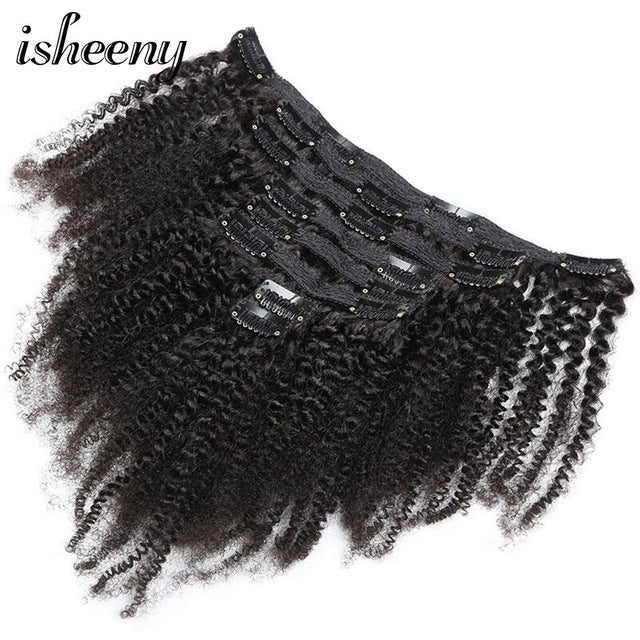 Isheeny 8pcs/set Afro Kinky Curly Wave Human Hair Clip In Hair Extensions 12