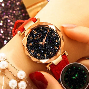 Exquisite Luxury Women Watches Fashion Dress Ladies Watch elegant Starry Sky Dial Leather Strap Quartz Wristwatch Clock Women
