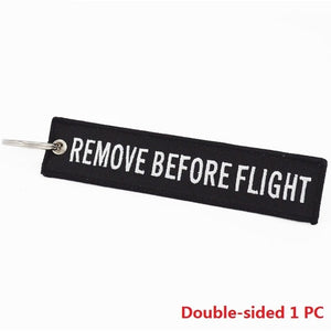 REMOVE BEFORE FLIGHT Chain Keychain Launch Key Chain Bijoux Keychains for Motorcycles and Cars Black Key Tag Embroidery Key Fobs