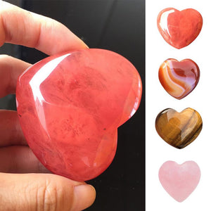 1Pc Natural Heart Shaped Stone Rose Quartz Striped Agate Crystal Carved Palm Love