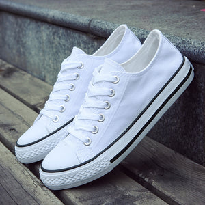 Canvas Men Vulcanize Shoes Classic White Casual Comfortable Lace Up Flats  Lightweight Breathable