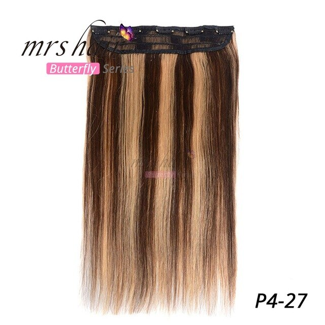 MRS HAIR Clip In Human Hair Extensions Straight 14