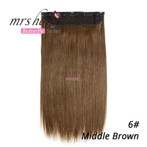 "MRS HAIR Clip In Human Hair Extensions Straight 14"" 18"" 22"" Natural Hair On Hairpins 9 Colors Available Blonde Hair"