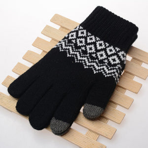 Winter Touch Screen Gloves Women Men Warm Stretch Knit Mittens Imitation Wool Full Finger