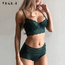 Load image into Gallery viewer, New luxury Green Lingerie Fashion Sexy Bra Embroidery Lace Women Underwear Bra Set Transparent Brassiere Black Deep V Temptation