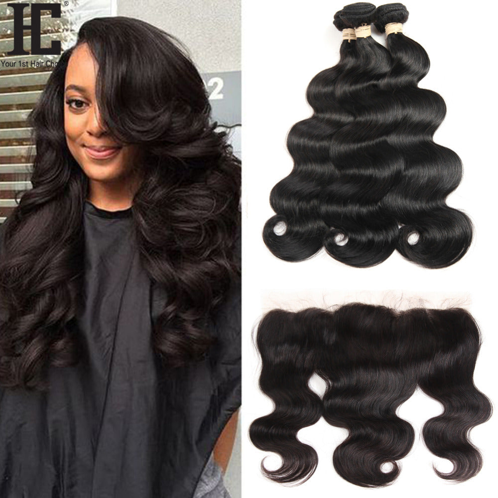 HC Brazilian Body Wave With Frontal Ear To Ear Lace Frontal Closure With Bundles Non Remy Human Hair Weave 3 Bundle With Frontal