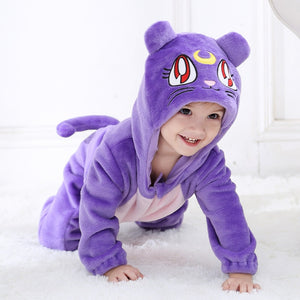 Fall Baby Zipper Jumpsuit Sailor Moon Luna Cat Embroidery Hooded Fleece One-pieces 1-24M