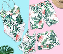 Load image into Gallery viewer, Leaf Swimsuit Family Matching Outfits Look Mother Daughter Swimwear Mommy and Me Bikini Dress Clothes Father Son Swimming Shorts