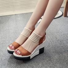 Load image into Gallery viewer, Wedge women Shoes Casual Belt Buckle High Heel Shoes