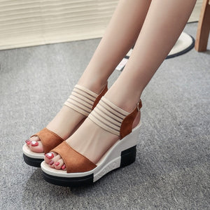 Wedge women Shoes Casual Belt Buckle High Heel Shoes