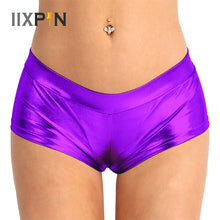 Load image into Gallery viewer, IIXPIN Pole Dance shorts Sexy Women Metallic Shorts Shiny Bottoms Dancing Costumes Faux Leather Low Waist Hot Shorts Pole Wear