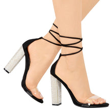 Load image into Gallery viewer, Big size 34-43 Women Heeled Sandals Bandage Rhinestone Ankle Strap Pumps Super High Heels 11 CM Square Heels Lady Shoes new #265