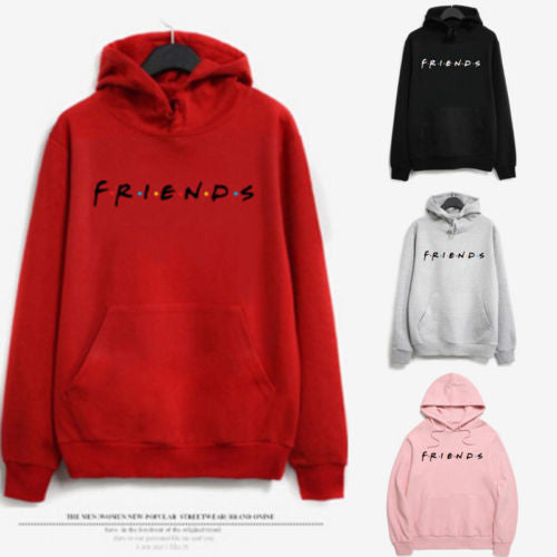 Friend Letter Hoodie Women Raglan Long Sleeve Cute Contrast Hooded Sweatshirt 2018 Fall Pocket Drawstring Hoodies