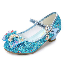 Load image into Gallery viewer, ULKNN Princess Kids Leather Shoes For Girls Flower Casual Glitter Children High Heel Girls Shoes Butterfly Knot Blue Pink Silver