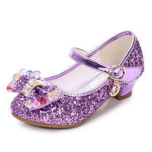 ULKNN Princess Kids Leather Shoes For Girls Flower Casual Glitter Children High Heel Girls Shoes Butterfly Knot Blue Pink Silver