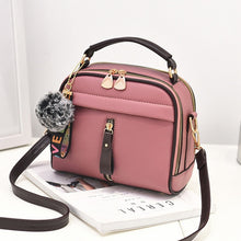 Load image into Gallery viewer, 2019 Women Shoulder Bags Crossbody Bag For Women Handbag PU Leather Full Moon Candy Color Cute With Fur Ball shell shape bag