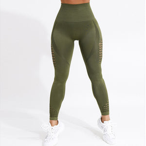 Women High Waist Push Up Leggings Hollows Workout  4Color