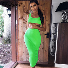 Load image into Gallery viewer, Dulzura 2019 summer women two piece set skirt set crop top tops sexy knitted festival party tracksuit clothes streetwear elegant