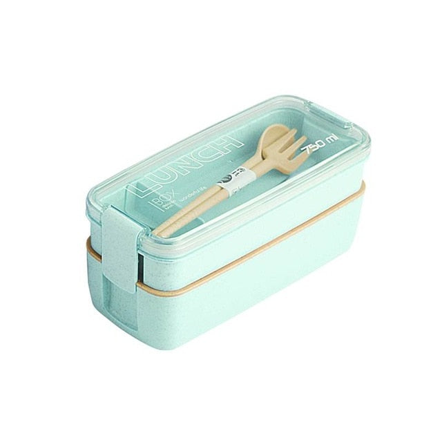 Healthy Material 2 Layer Lunch Box Wheat Straw Boxes Microwave Food Storage Container Lunchbox
