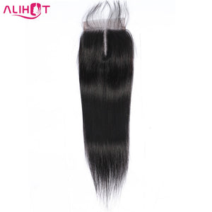 Ali Hot Straight Lace Closure Malaysian Natural Color 4*4 Free/Middle/Three Part Non Remy Human Hair Closure 8 to 22 Inch