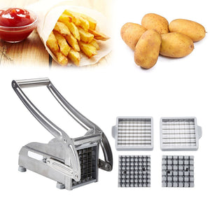 2 Blades Stainless Steel Home French Fries Potato Chips Strip Slicer