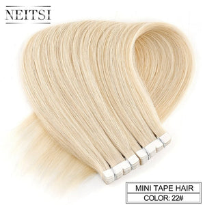 "Neitsi Mini Tape In None Remy Human Hair Adhesive Extension 12"" 16"" 20"" 10/20/40pcs 13 Colors Straight Skin Weft Natural Hair"
