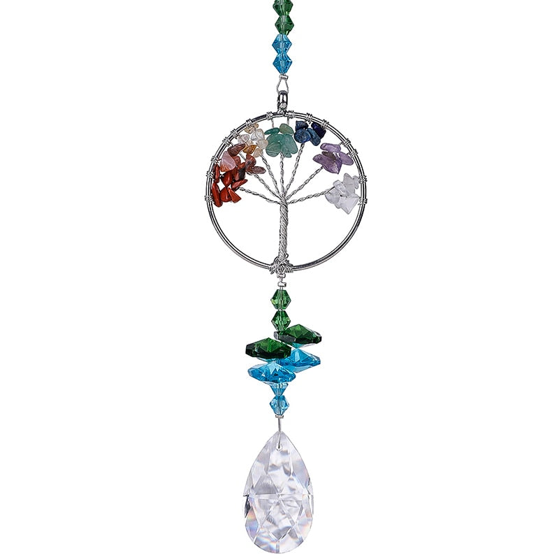 Crystal Suncatcher Tree of Life Window Ornament with 38mm Crystal Prism Rainbow Maker Sun Catcher