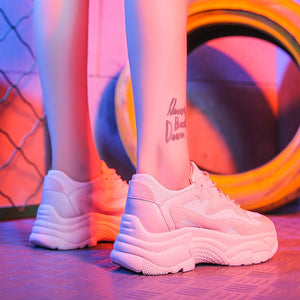 Women's Chunky Sneakers 2019 Fashion  Platform  Lace Up Pink Vulcanize Trainers