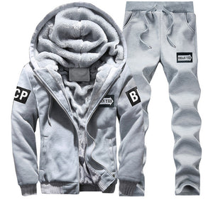 Tracksuit Men Sporting Fleece Thick Hooded Brand-Clothing Casual Track Suit Warm Fur Inside