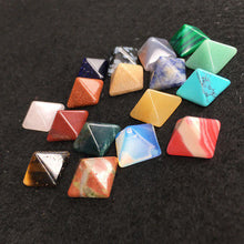Load image into Gallery viewer, Set of 7 Chakra Pyramid Stone Set Crystal Healing Chakra Set or Jewelry Making Random Color