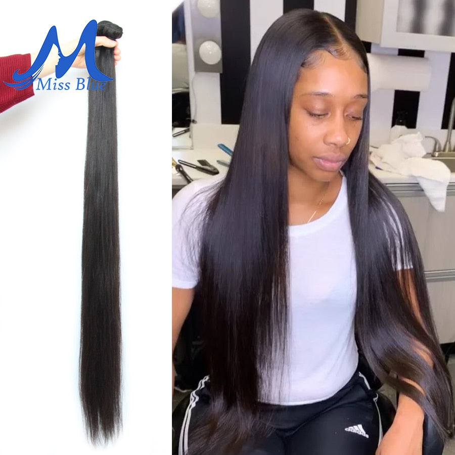 8-34 36 38 40 Inch Brazilian Hair Weave Bundles Straight 100% Human Hair 3/4 Bundles Natural Color Remy Hair Extensions