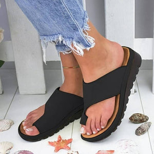 Women PU Leather Shoes Comfy Platform Flat Sole Ladies Casual Soft Big Toe Foot Correction