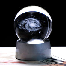 Load image into Gallery viewer, 3D Galaxy Ball Miniature Laser Engraved Universe Globe with Colorful LED Base Home Decoration Accessories Ornament Glass Sphere