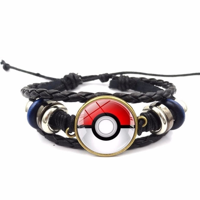 Anime Pocket Monster Pikachu Poke Ball Glass Cabochon Woven Bracelet Pokemon Go Cosplay Anime Accessories Hand Chain