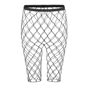 Sexy Women Fishnet Push Up Holiday Leggings Hollow Out Mesh Net Short See Through High Waist