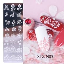 Load image into Gallery viewer, 1pcs 12x4cm Nail Stamping Plates Leaf Flowers Butterfly Cat Nail Art Stamp Templates Stencils