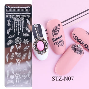 1pcs 12x4cm Nail Stamping Plates Leaf Flowers Butterfly Cat Nail Art Stamp Templates Stencils