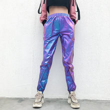 Load image into Gallery viewer, women rave pants pole dance shorts holographic bodysuit neon outfit dance crop top women jazz dance street dance clothing