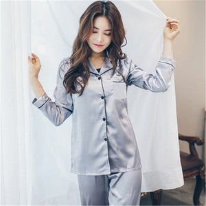 2  Piece Autumn Women Sleepwear Faux Silk Satin Pajamas Set Long Sleeve Sleepwear