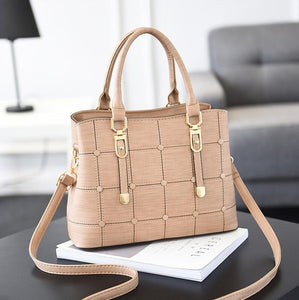 PU Leather Large Capacity Woman Handbag Grid Shoulder Bag  Casual Luxury Designer Crossbody Bag