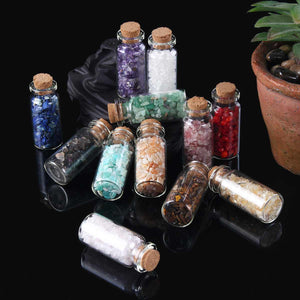 KIWARM 30g 12 Types Natural Quartz Crystal Stone Crystal Gravel Wishing Bottle