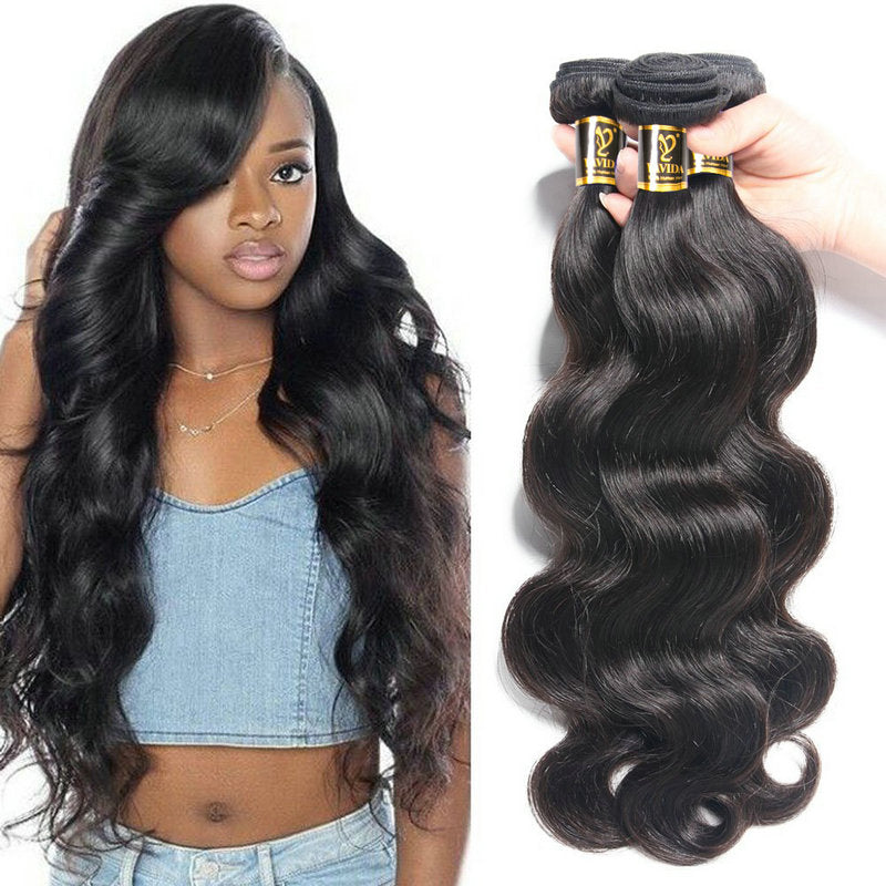 Yavida Indian Hair Body Wave Hair Bundles Natural Color 100% Human Hair Weave Bundles  Non-Remy Hair Extension 1/3 /4Piece
